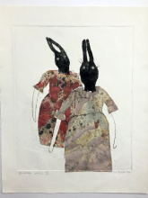 Shabby chic - drypoint and chine colle